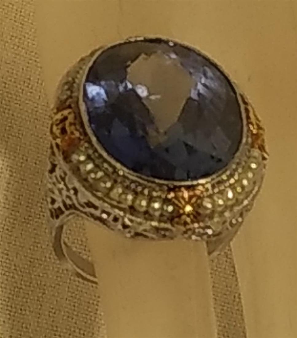 Jewelry Antique 10k Gold and Large Blue Stone Ring - 6