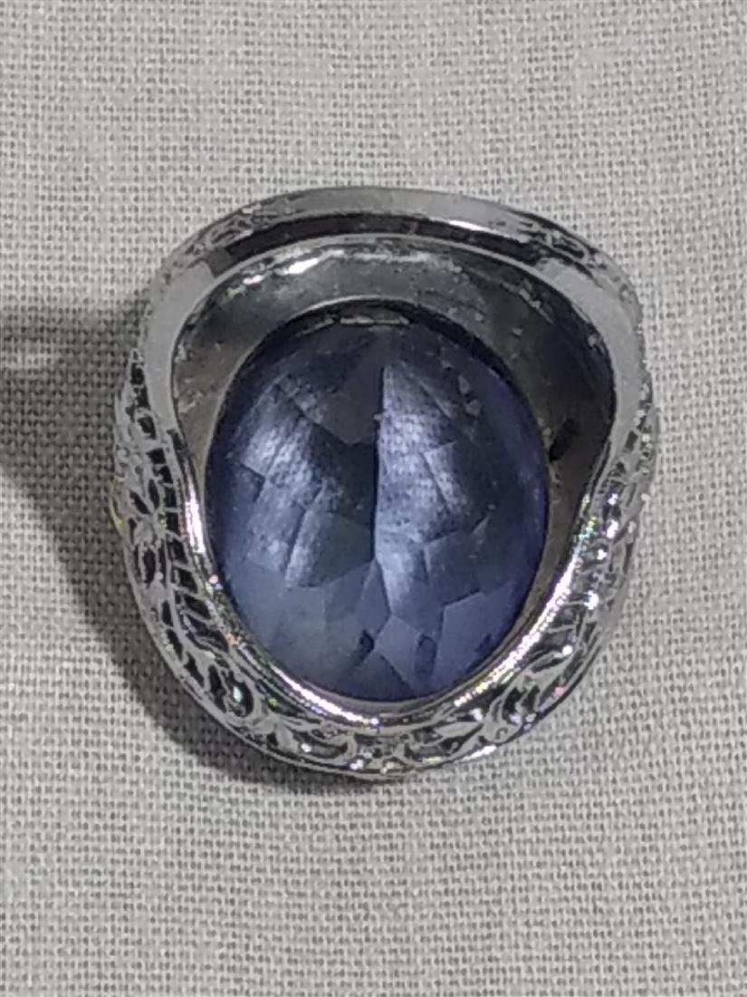 Jewelry Antique 10k Gold and Large Blue Stone Ring - 7