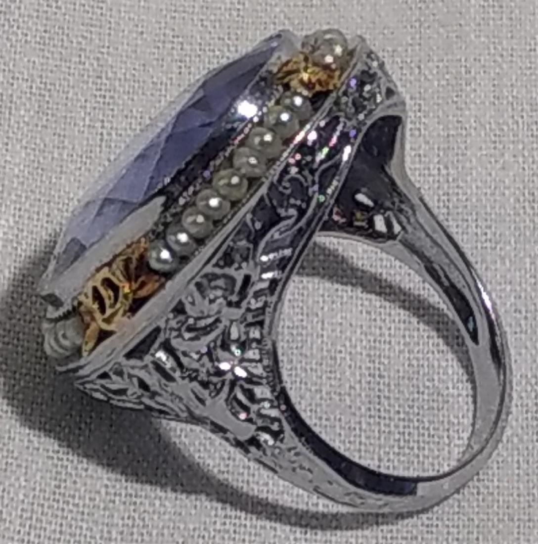 Jewelry Antique 10k Gold and Large Blue Stone Ring - 8
