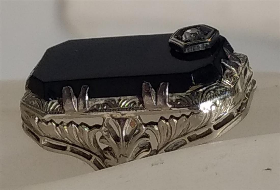 Jewelry 14K White Gold Onyx/ Diamond Ring - 3