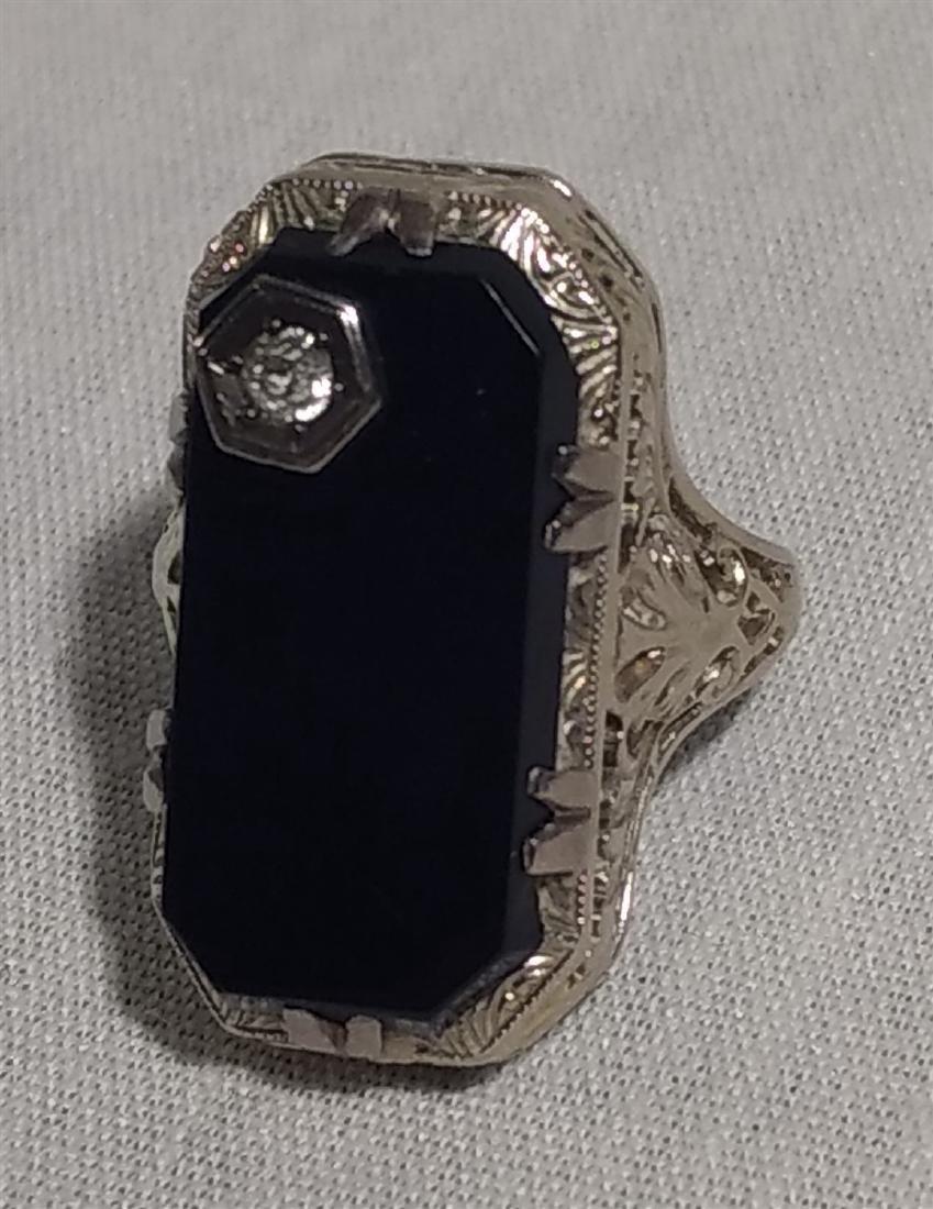 Jewelry 14K White Gold Onyx/ Diamond Ring - 4