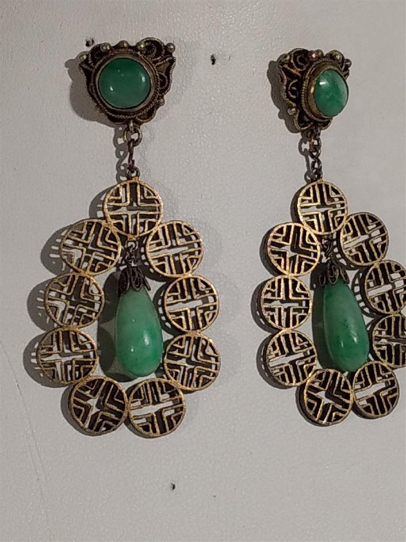 Jewelry Antique Silver/Jade Teardrop Dangle Earrings