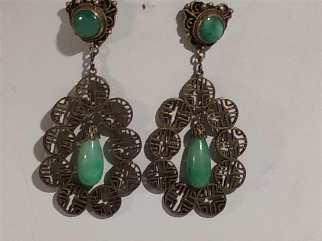 Jewelry Antique Silver/Jade Teardrop Dangle Earrings - 4