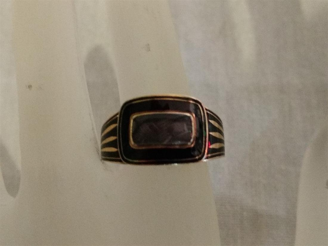 Victorian Mourning Jewelry Gold/Onyx Ring w/Weaved Hair - 5