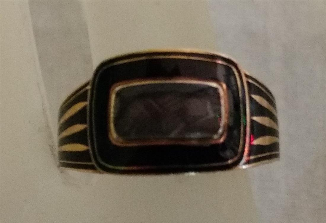 Victorian Mourning Jewelry Gold/Onyx Ring w/Weaved Hair - 6