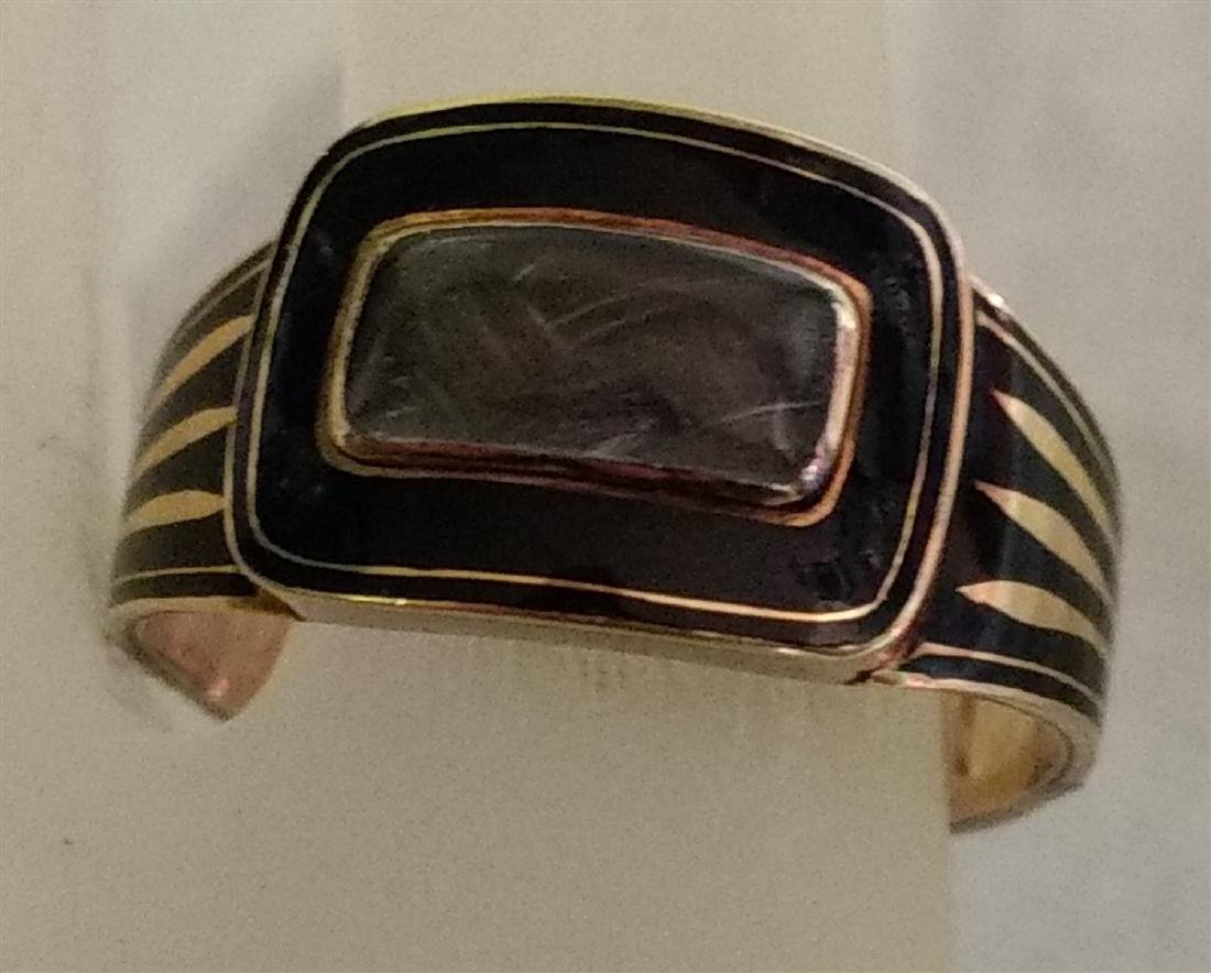 Victorian Mourning Jewelry Gold/Onyx Ring w/Weaved Hair - 7