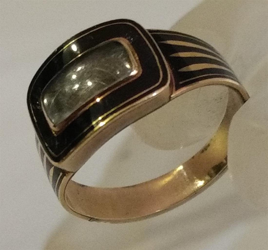 Victorian Mourning Jewelry Gold/Onyx Ring w/Weaved Hair - 9