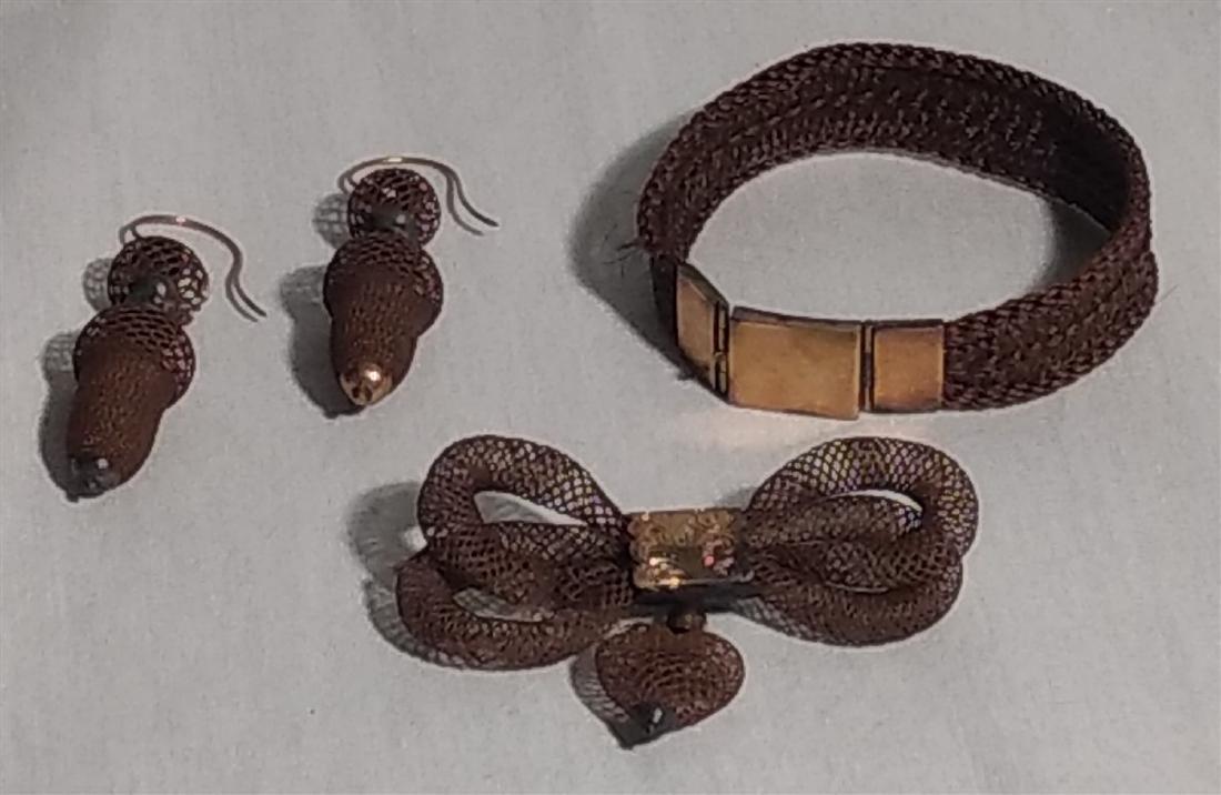 Victorian Mourning Jewelry, Bracelet, Earrings, Brooch