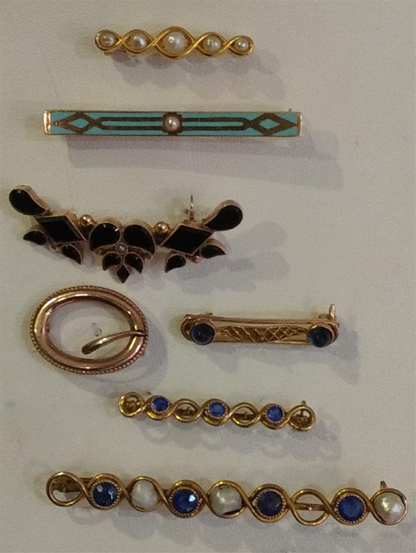 Jewelry Gold Pins 14K and 10K, Antique and Victorian