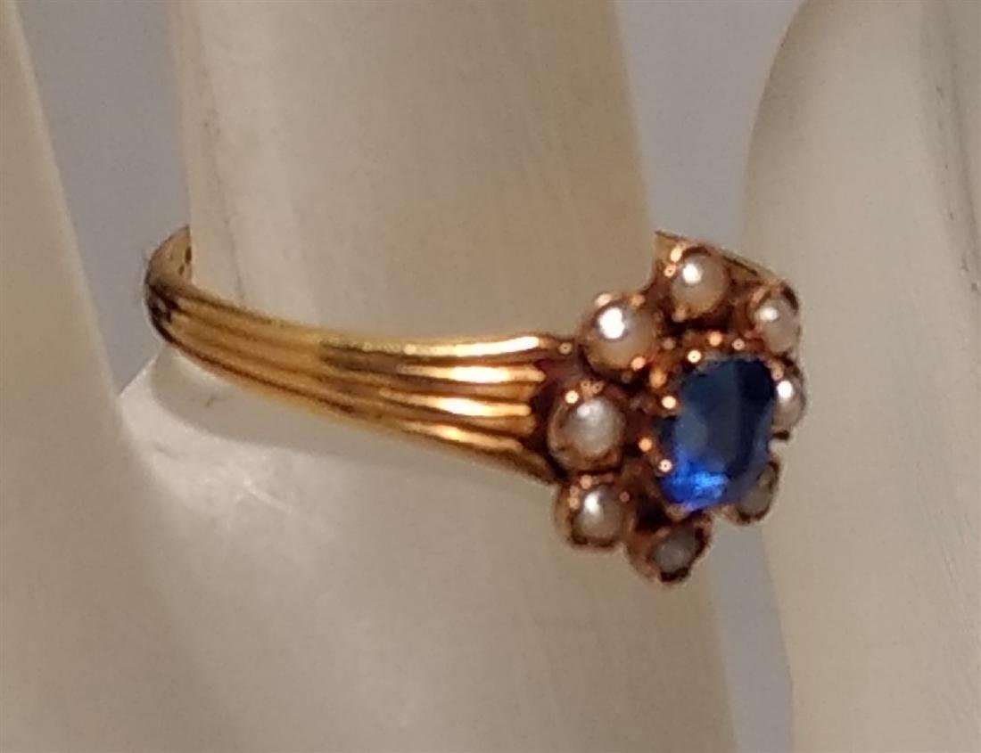 Jewelry 14k Gold Pearl Sapphire Ring