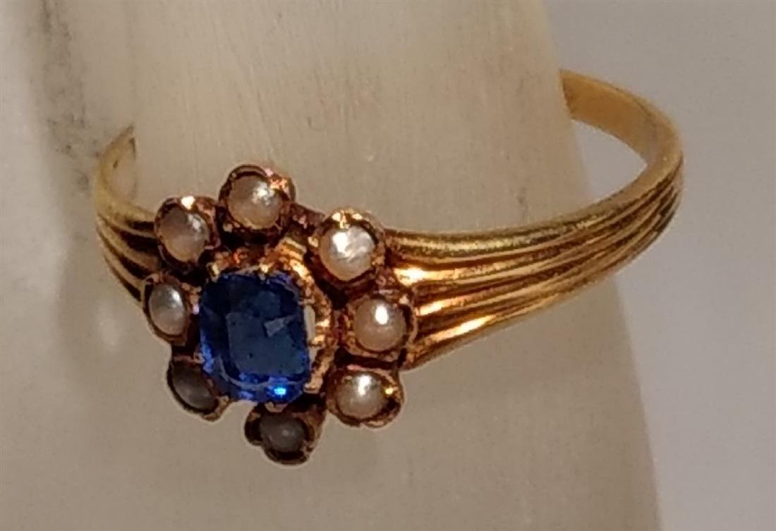 Jewelry 14k Gold Pearl Sapphire Ring - 2