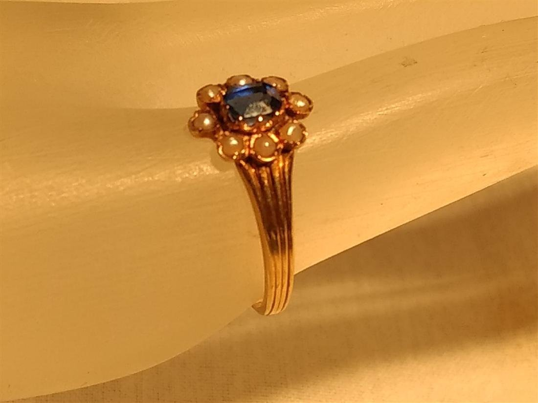 Jewelry 14k Gold Pearl Sapphire Ring - 3