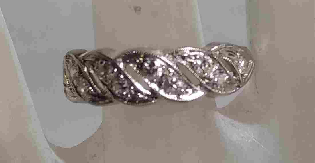 Jewelry 14 K White Gold and Diamond Ring