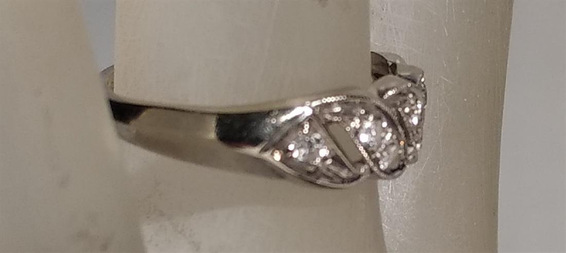Jewelry 14 K White Gold and Diamond Ring - 3