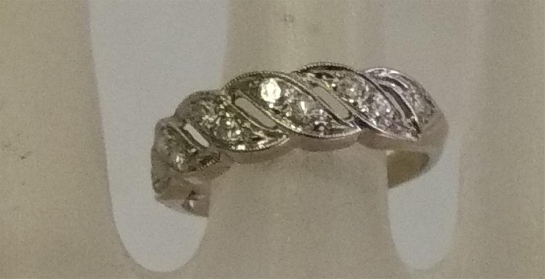 Jewelry 14 K White Gold and Diamond Ring - 4