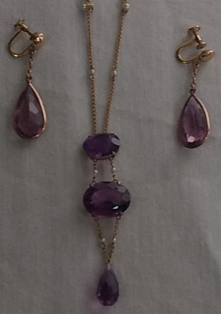 Antique Jewelry Gold Chain and 3 Piece Amethyst Pendant