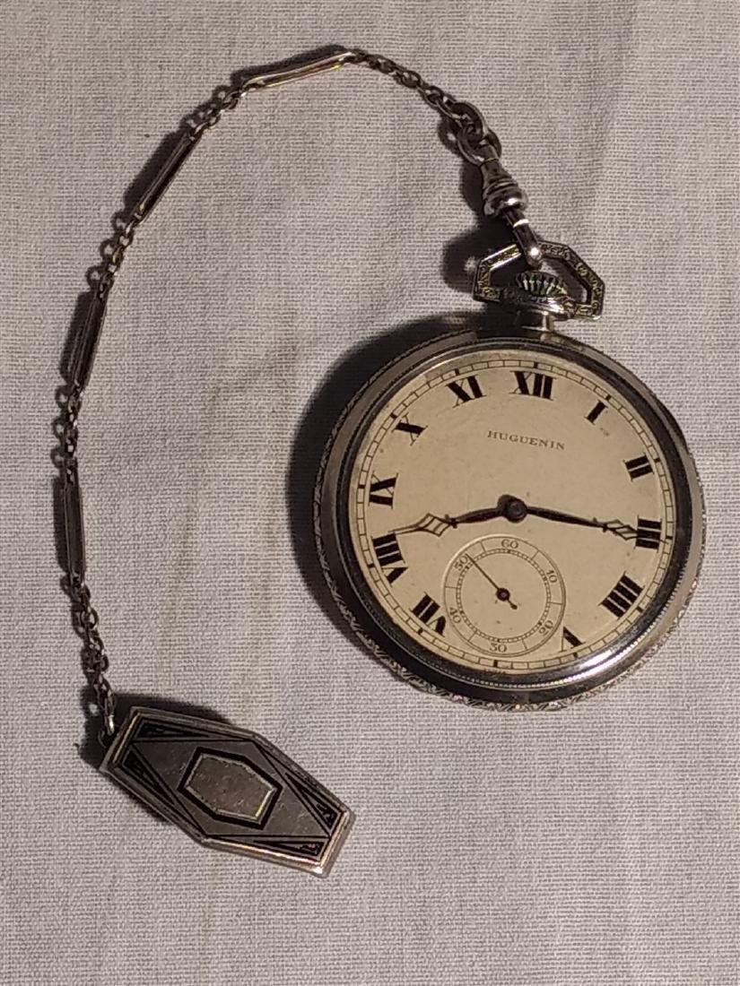 Antique 17 Jewel Huguenin Pocket Watch,Sterling Fob