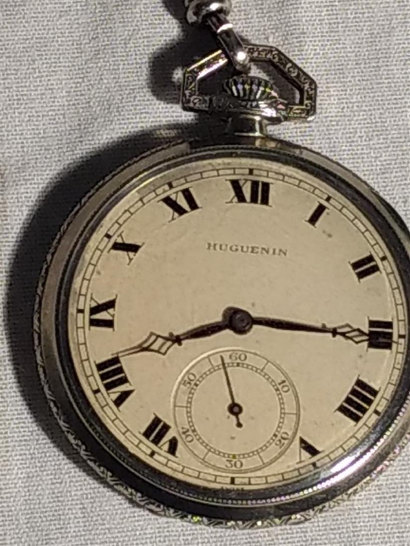 Antique 17 Jewel Huguenin Pocket Watch,Sterling Fob - 2