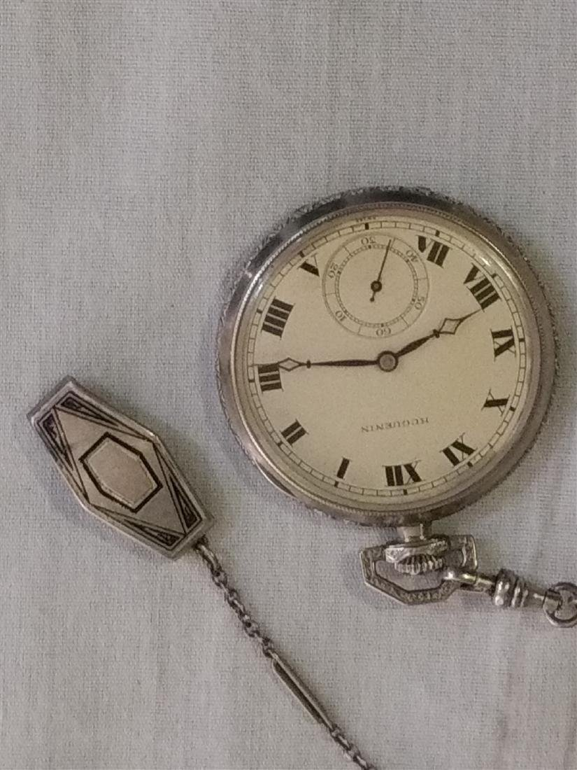 Antique 17 Jewel Huguenin Pocket Watch,Sterling Fob - 4