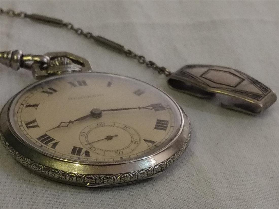 Antique 17 Jewel Huguenin Pocket Watch,Sterling Fob - 5