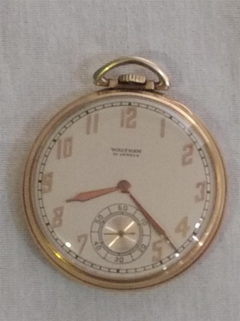 Antique Pocket Watch Open Face Waltham 21 Jewels 10k pl