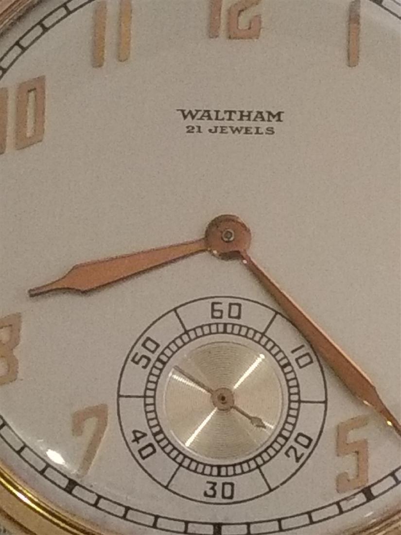 Antique Pocket Watch Open Face Waltham 21 Jewels 10k pl - 2
