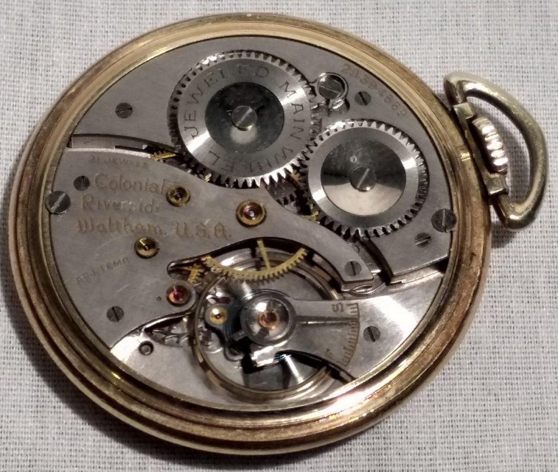 Antique Pocket Watch Open Face Waltham 21 Jewels 10k pl - 5