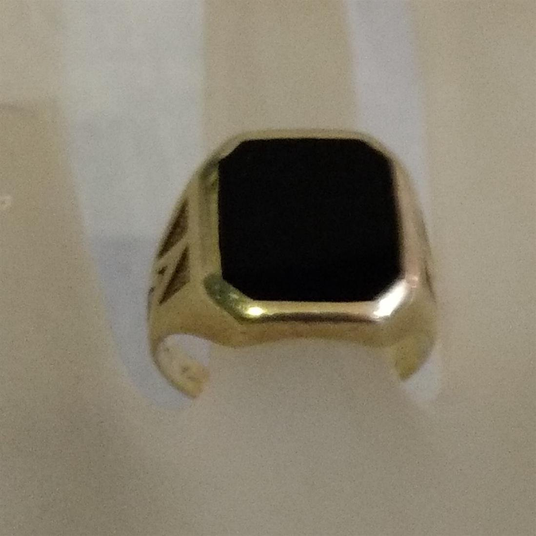 Jewelry Vintage 14K Gold Onyx Ring - 2
