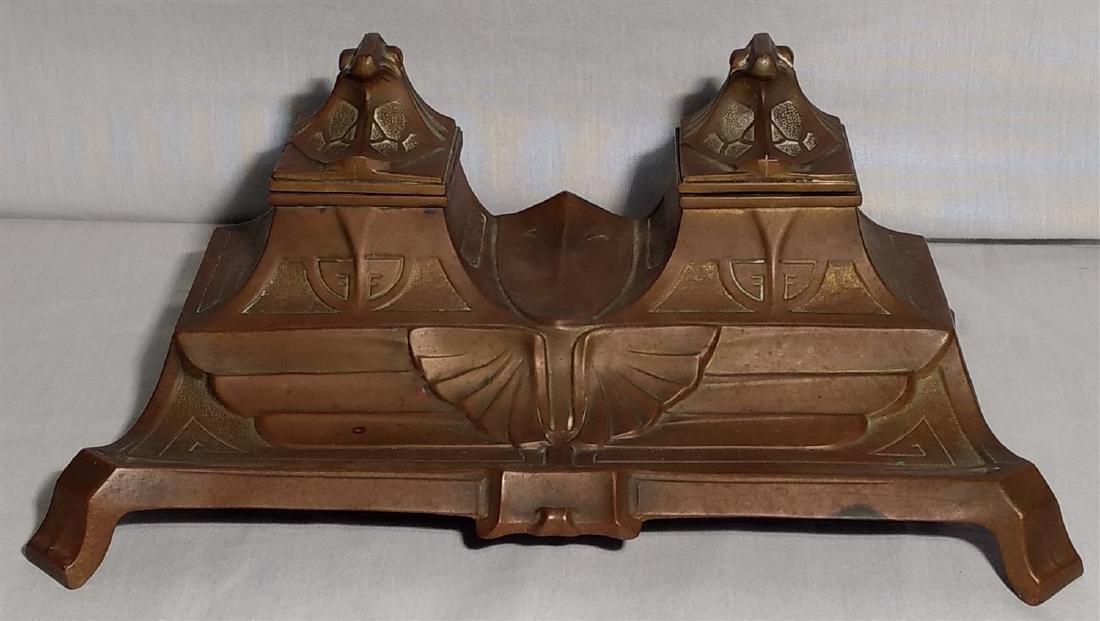 Bronze Art Deco, Egyptian Revival Inkwell