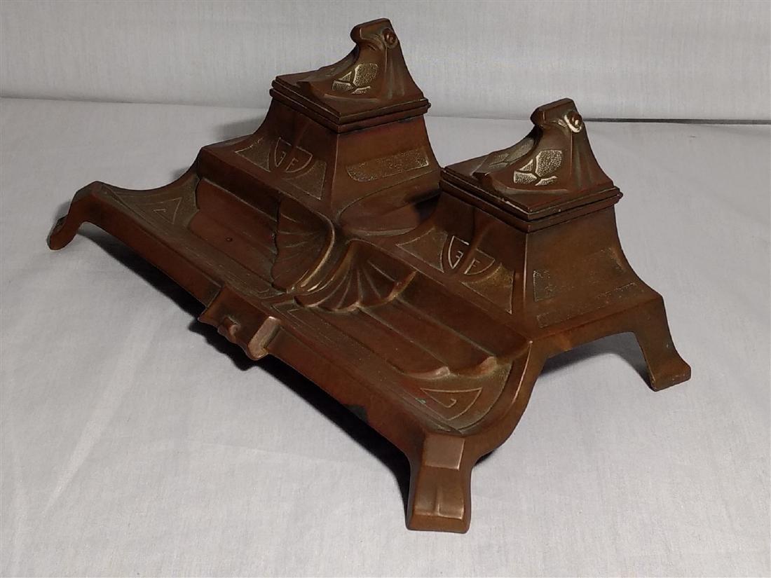 Bronze Art Deco, Egyptian Revival Inkwell - 2