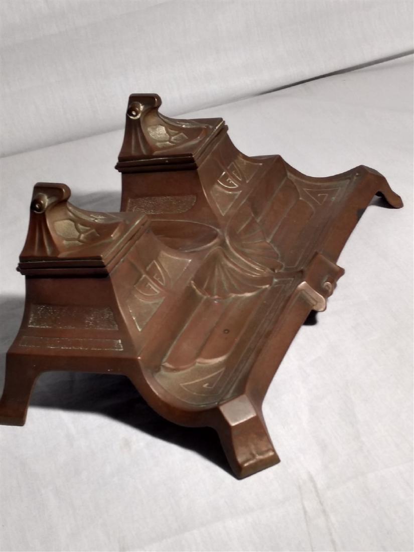 Bronze Art Deco, Egyptian Revival Inkwell - 3