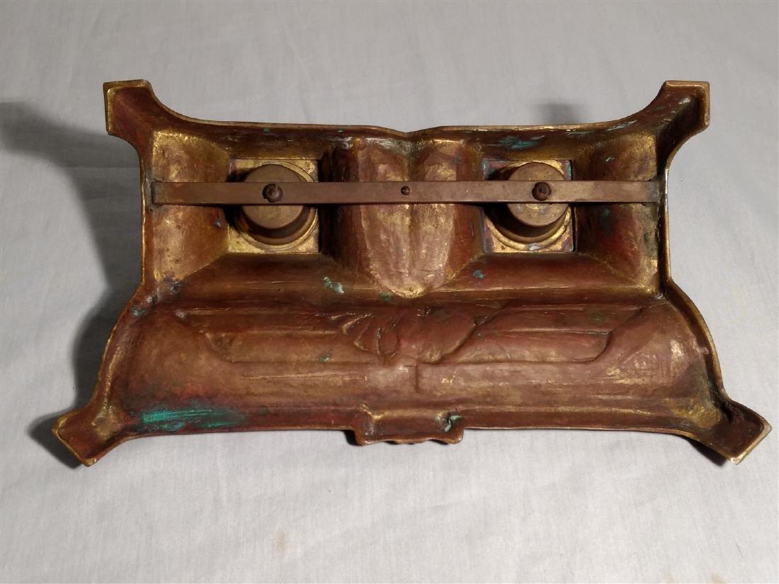 Bronze Art Deco, Egyptian Revival Inkwell - 6
