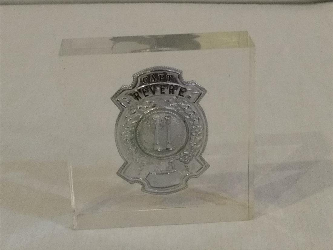 Revere, Ma Fire Department Captains Shield in Lucite