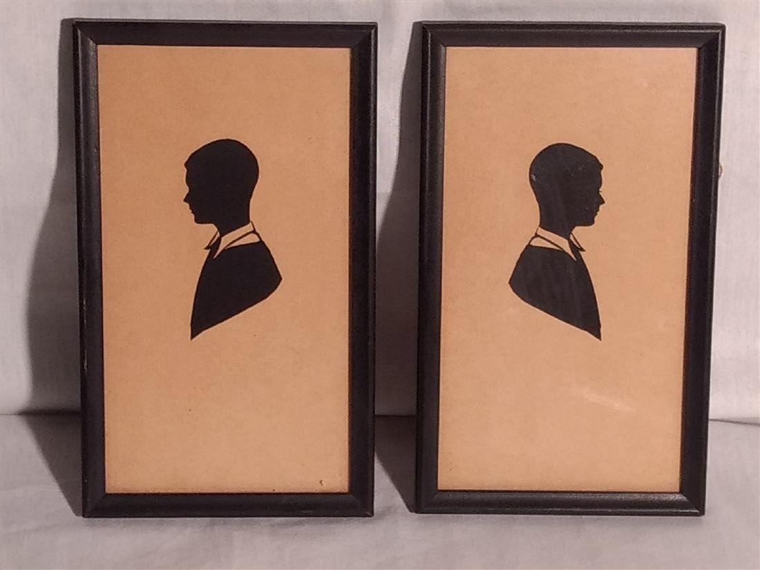 Two Handcut Framed Silhouttes  Boys Young Men