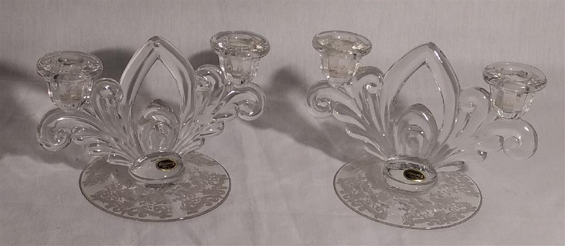 Cambridge Glass Pair of Double Candle Stick Holders