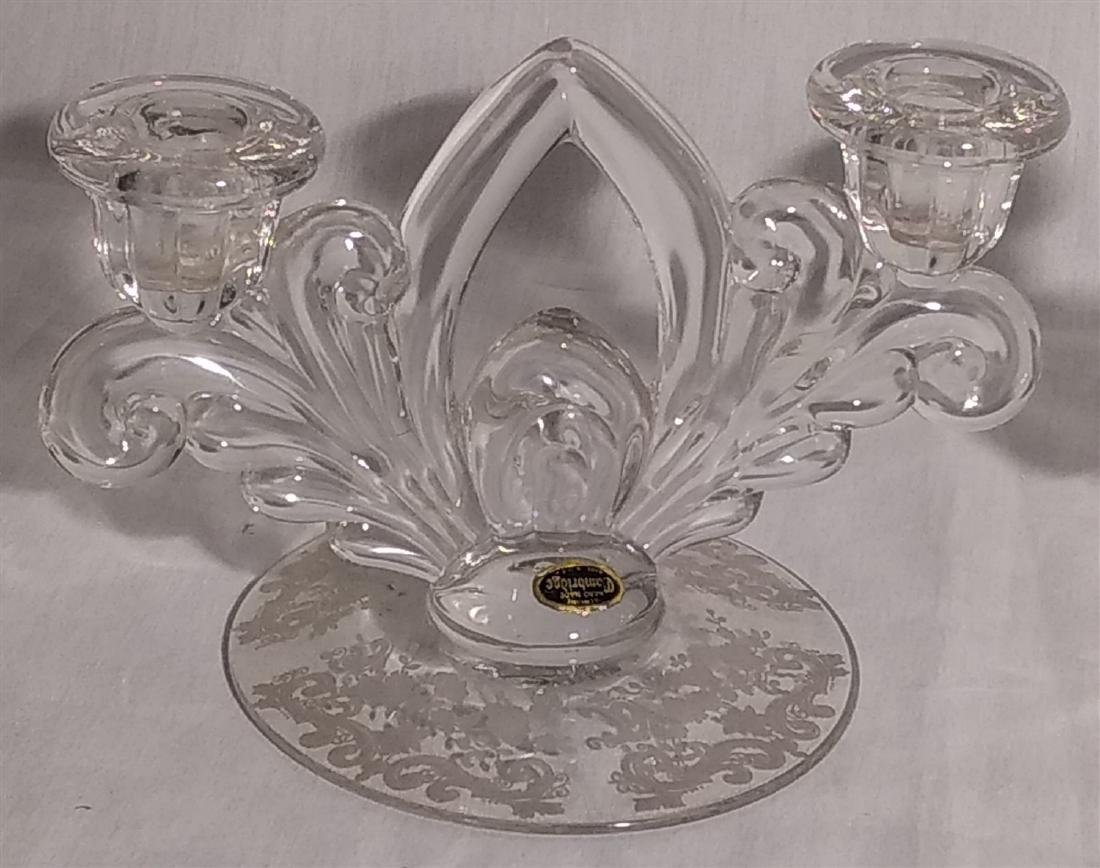 Cambridge Glass Pair of Double Candle Stick Holders - 2