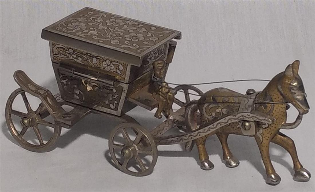 Vintage Detailed Brass Funeral Horse Carriage Music Box
