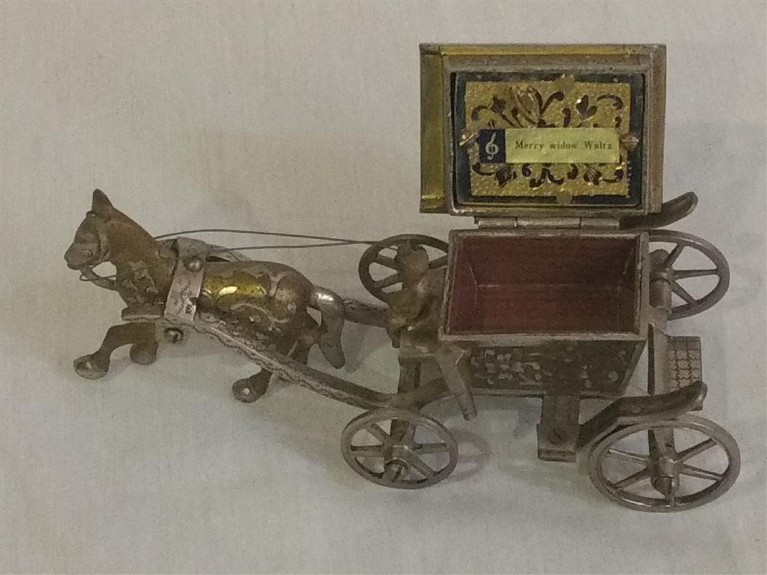Vintage Detailed Brass Funeral Horse Carriage Music Box - 3