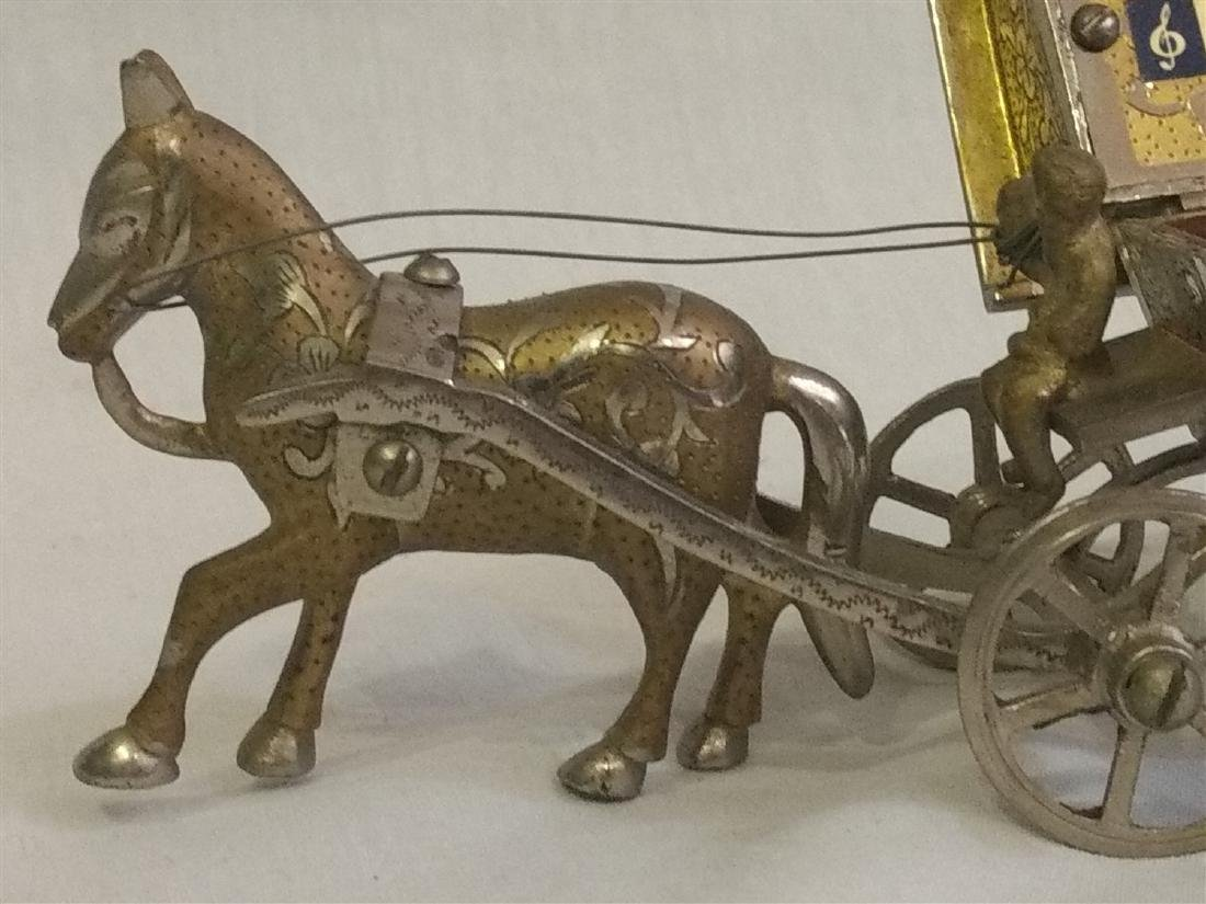 Vintage Detailed Brass Funeral Horse Carriage Music Box - 4