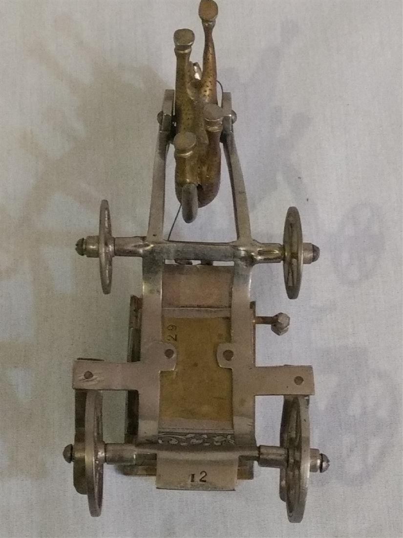 Vintage Detailed Brass Funeral Horse Carriage Music Box - 6