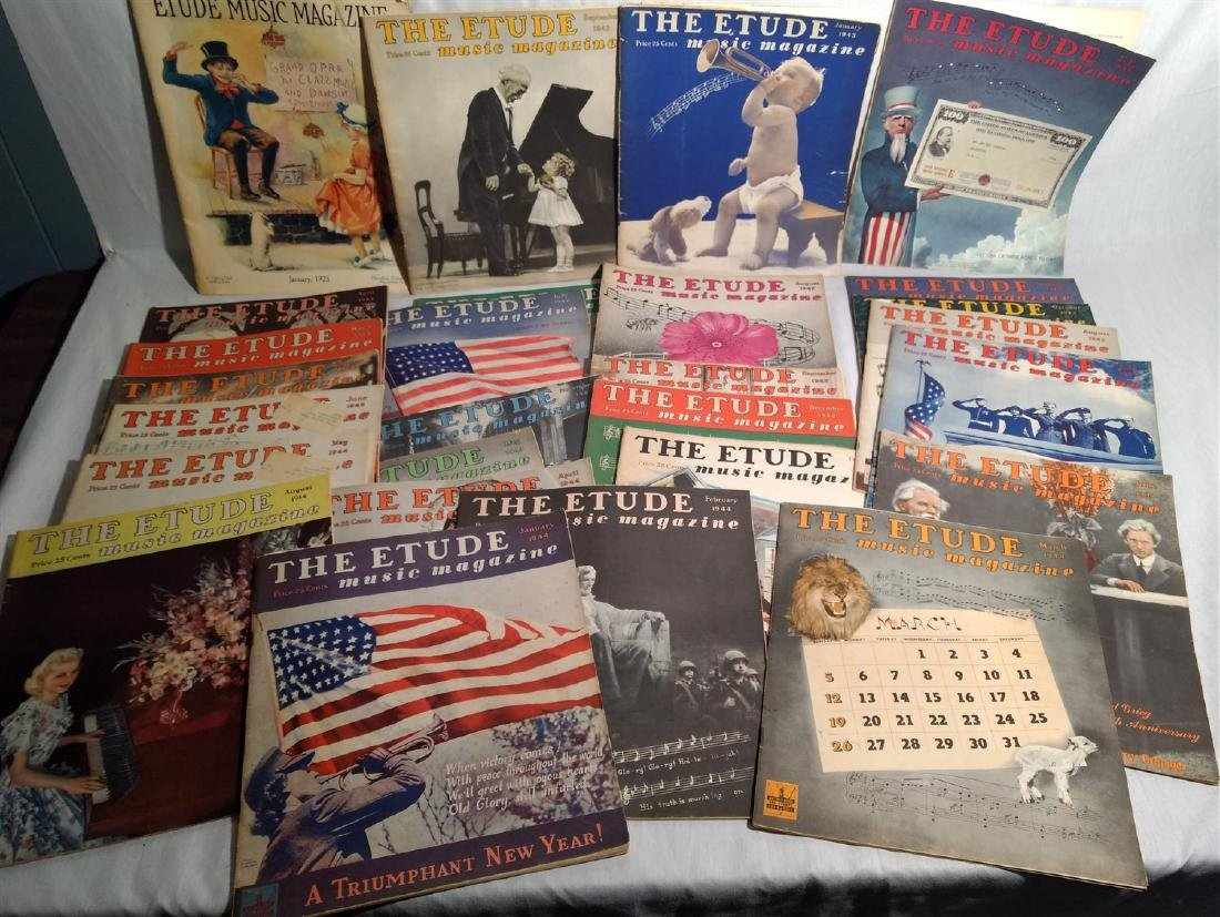Group of 27 Antique The Etude Music Magazines