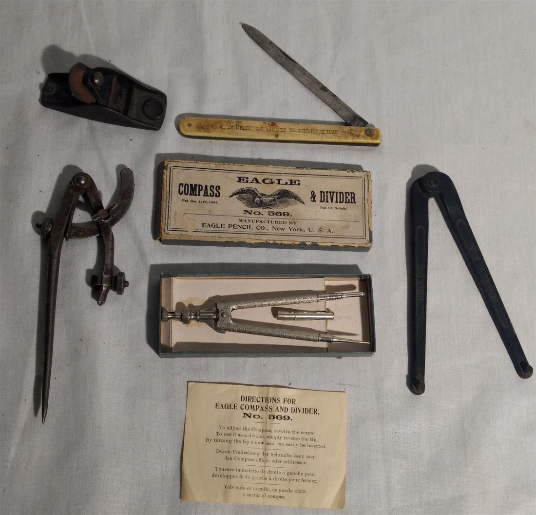 Mixed Lot 1894 Eagle Compass, Plane, Folding Knife