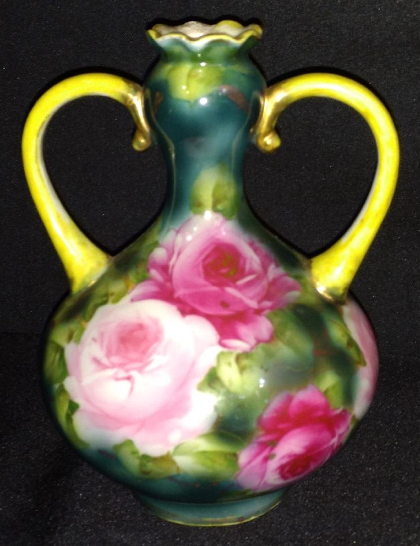 Antique Nippon Double Handled Hand Paint Porcelain Vase