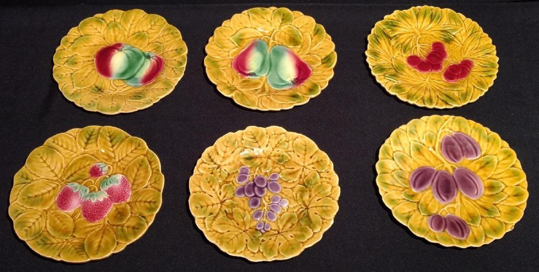 Six Antique Majolica Fruit Plates- PV France