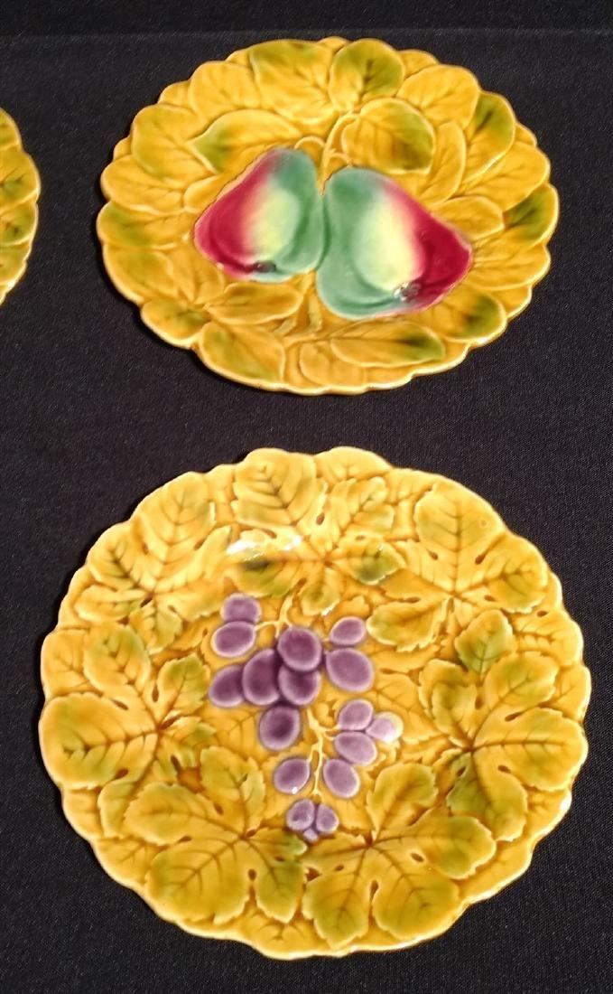 Six Antique Majolica Fruit Plates- PV France - 3