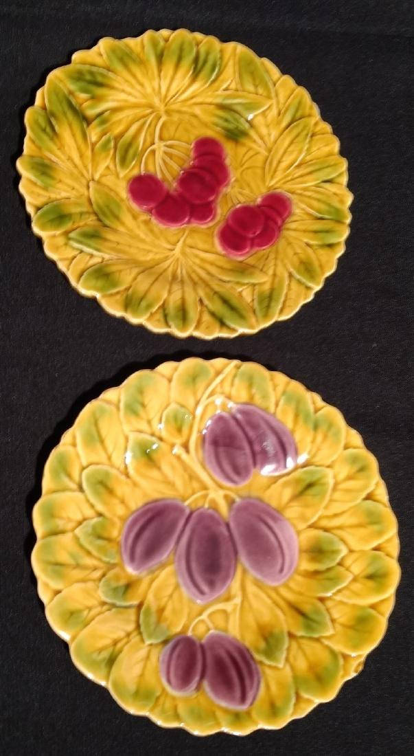Six Antique Majolica Fruit Plates- PV France - 4