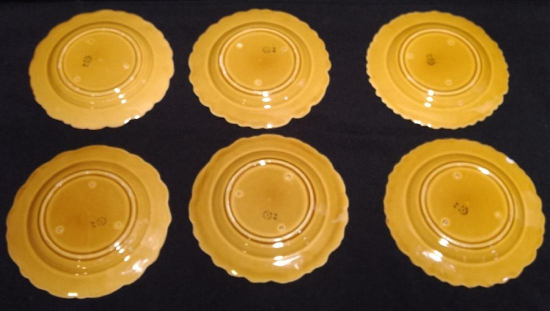 Six Antique Majolica Fruit Plates- PV France - 5