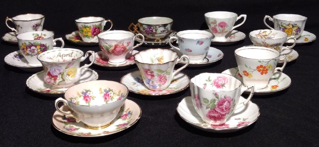 Vintage Bone China Tea Cups and Saucers- Lot of 14