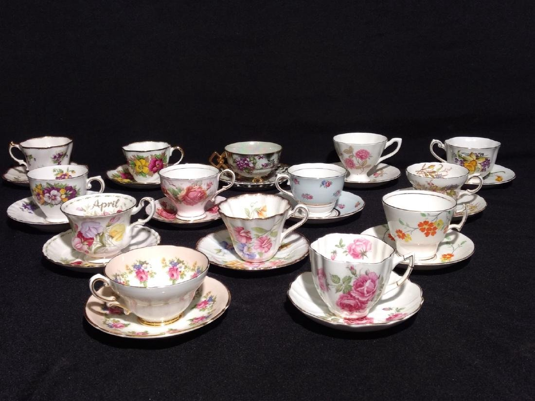 Vintage Bone China Tea Cups and Saucers- Lot of 14 - 2