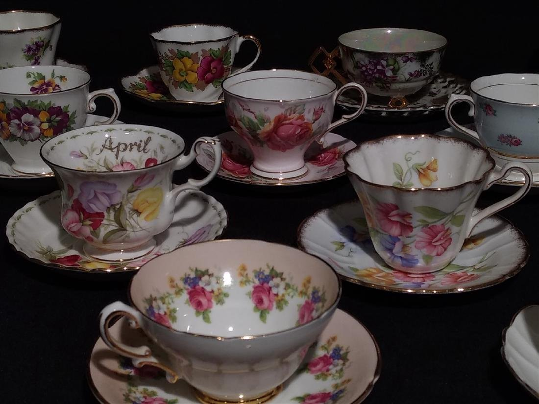 Vintage Bone China Tea Cups and Saucers- Lot of 14 - 3